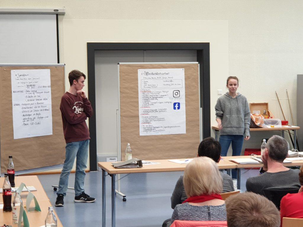Tim und Annika beim Präsentieren der Projekte gegenüber BM Oestringer und den Gemeinderäten